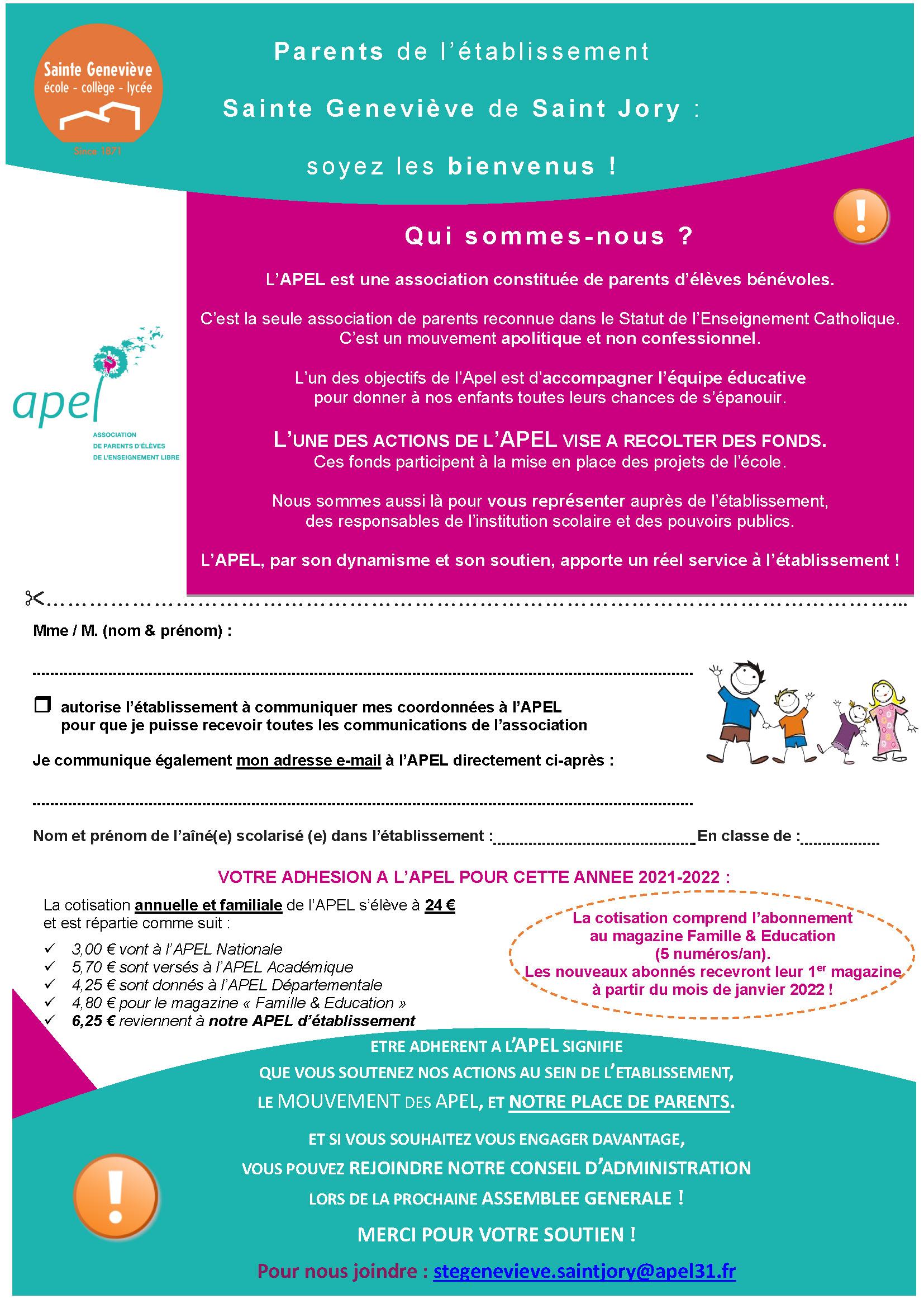 Bulletin d'adhésion à l'APEL